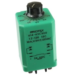 1.2-120 Second Time Delay Relay, 24VDC, Midtex 614-43C400