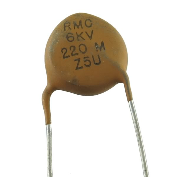 (Pkg 3) High Voltage 220pF 6kV Ceramic Disc Capacitor, RMC