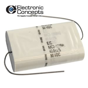 40uF 50VDC 2% Tolerance Axial Film Capacitor