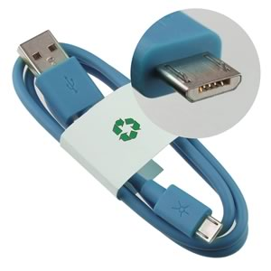 Blue - Standard USB to Micro-B Male Connector Charging Cable
