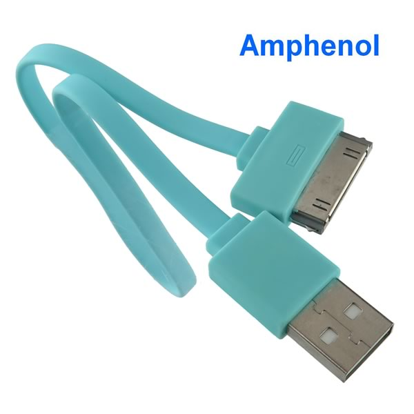 Turquoise USB 30Pin Data Sync Charging Cable