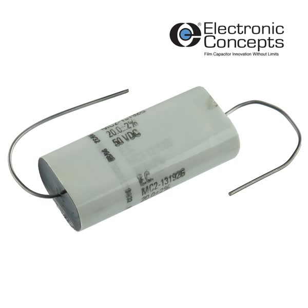 20uF 50VDC 2% Tolerance Axial Film Capacitor