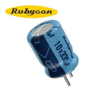 (Pkg 25) Rubycon 330uF 10V Radial Electrolytic Capacitor, PC Leads