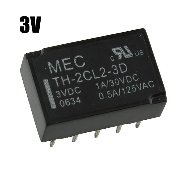 (Pkg 5) MEC TH-2CL2-3D 3VDC DPDT Latching Relay
