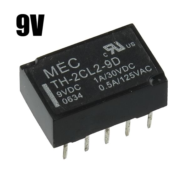 (Pkg 5) MEC TH-2CL2-9D 9VDC DPDT Latching Relay