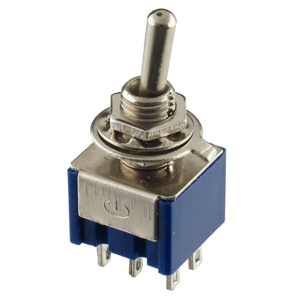 (Pkg 5) Center Off Panel Mounting DPDT Miniature Toggle Switch
