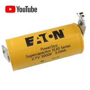 Eaton PowerStor(R) 3000 Farad 2.7V Supercapacitor XL60