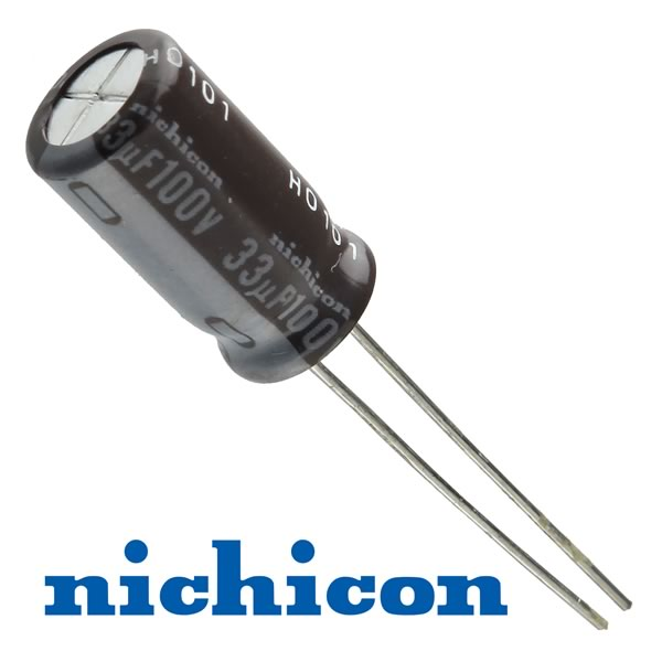 (Pkg 50) Super Blowout Nichicon 33uF 100V Radial Electrolytic Capacitor