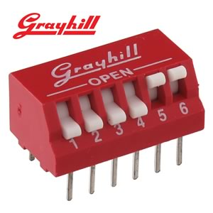 (Pkg 5) Grayhill 76PSB06 6 Position SPST DIP Switch, Piano Actuators