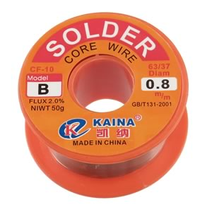 50 Gram Roll 63/37 Rosin Core 0.8mm Diameter Solder