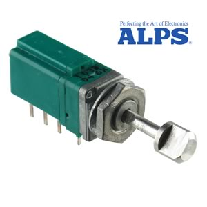 ALPS Compact Panel Mount 10K Linear Taper Potentiometer with Push On/ Push Off DPDT Switch