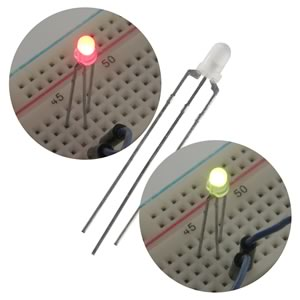 (Pkg 20) Bright 3mm Red/Green 3 Lead LED