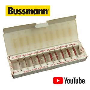 (Box of 10) Bussmann Grasshopper Fuses No. 35F - 1/2Amp