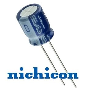 (Pkg 200) Nichicon 1000uF 6.3V Compact Radial Electrolytic Capacitors