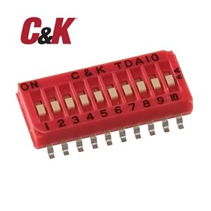 C&K Tiny 10 Position SMD DIP Switch TDA10H0SK1R