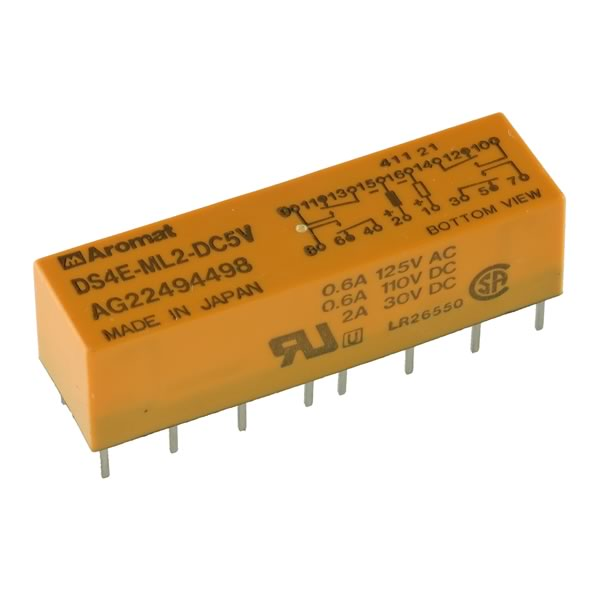 Aromat DS4E-ML2-DC5V 4PDT 2 Coil Low Signal Latching Relay