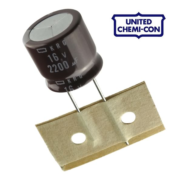 (Pkg 10) United Chem-Con 2200uF 16V Radial Electrolytic Capacitor UCC KRG Series