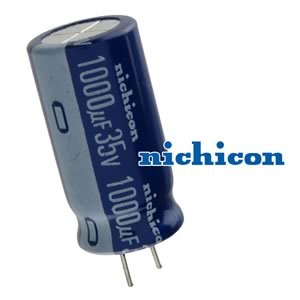 (Pkg 10) Nichicon 1000uF 35V Compact Radial Electrolytic Capacitor