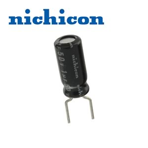 (Pkg 25) Nichicon 1uF 50V Compact Radial Electrolytic Capacitor