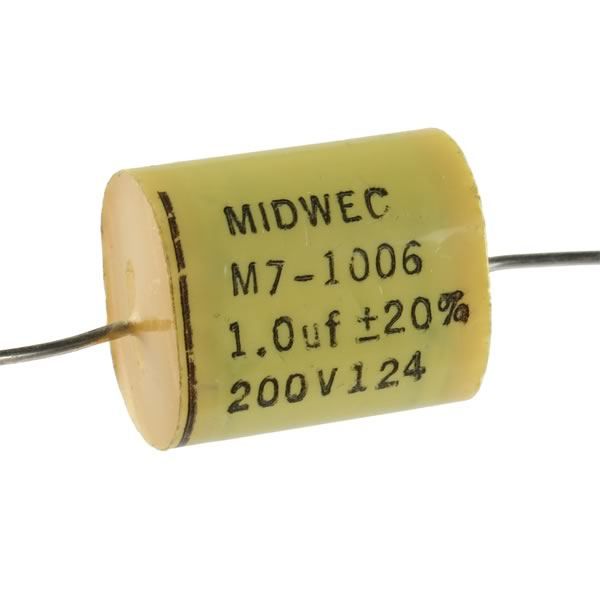 (Pkg 4) Midwest Compact 1.0uF 200V Axial Film Capacitor