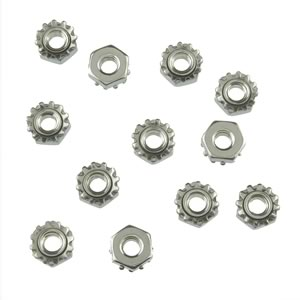 (Pkg 50) 8-32 Stainless Steel Nut with Conical Lock Washer