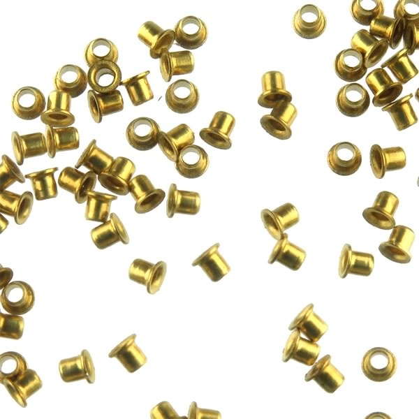 (Pkg 100) Stimpson A1751 Flat Flange Brass Eyelets for PC Boards