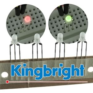 (Pkg 100) Kingbright 3mm Red & Green Bi-Color LED 3 Lead Common Cathode