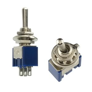 (Pkg 2) Center Off SPDT Panel Mount Miniature Toggle Switch