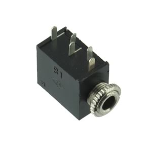 (Pkg 4) Miniature Panel Mounting Stereo 3.5mm Jack with 2 N.C. Switches