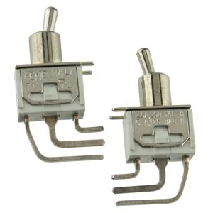 (Pkg 2) FEME On/Off Miniature Right Angle PC Mount Toggle Switch