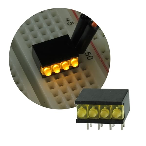 (Pkg 5) Yellow 4 LED Bar Display