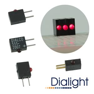(Pkg 10) Dialight 555-2007 5VDC CBI® Red LED Circuit Board Indicator