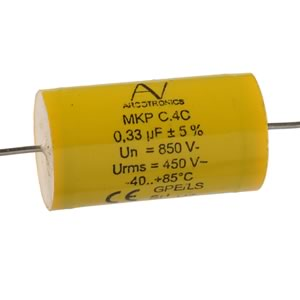 Arcotronics MKP C.4C Series Axial Capacitor for Snubber Application 0.33uF 850Vdc