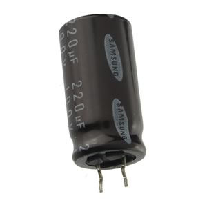 (Pkg 5) Samsung Compact 220uF 100V UST Series 105°C Radial Electrolytic Capacitor