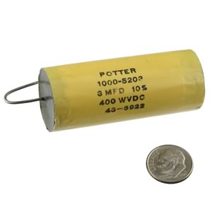 Potter 3MFD 400WVDC Metalized Mylar Capacitor