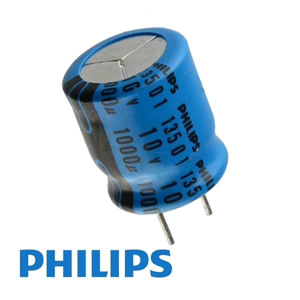 (Pkg 10) Philips Super Compact 1000uF 10V Radial Electrolytic Capacitor