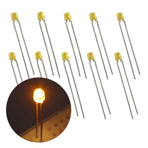 (Pkg 10) 3mm Flat Top Concave See-thru Yellow Lens LED