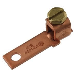 AKS Heavy Duty Solid Copper Ground Lug for #10 Stud and 12-4 AWG Wire