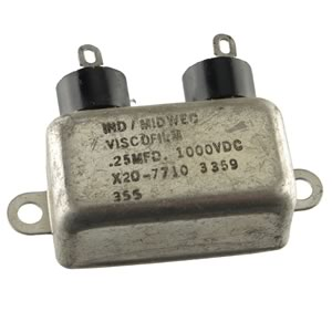 Industrial Midwec Viscofilm Oil-Filled 0.25MFD 1,000V Metal Case Capacitor