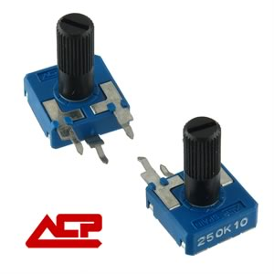 (Pkg 10) ACP 250K Linear Taper Trimmer Potentiometer with Shaft for Knob